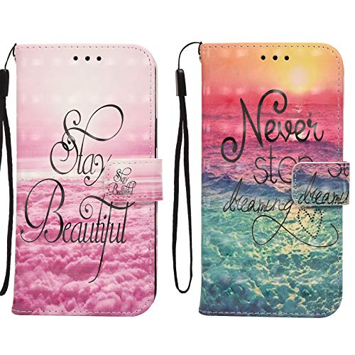 Yiscase Kompatibel für iPhone 12 Pro Hülle 3D Muster Handyhülle Schutzhülle PU Leder Wallet Case Flip Case Klapphüllen Paare Brieftasche Ledertasche Tasche Kompatibel für iPhone 12 (2 Pack)