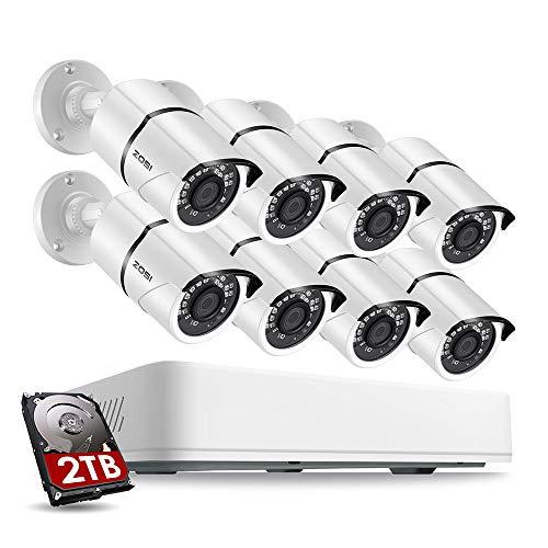 ZOSI 5MP Sistema de Vigilancia 8CH H.265+ Video Grabador DVR con (8) Cámara de Seguridad Exterior, 2TB Disco Duro, 30m Visión Nocturna, Alarma de Movimiento, P2P