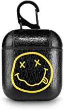 Leather Case for AirPods Nirvana Logo Kurt Cobain 90s Grunge Rock Black PU Leather Protective Shockproof Cover Wireless Charging for Apple AirPods 1 2 Series