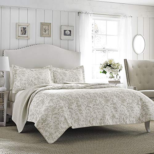 Laura Ashley Home | Amberley Collection | Luxury Premium Ultra Soft Quilt Coverlet, Comfortable 3 Piece Bedding Set, All Season Stylish Bedspread, King, Biscuit