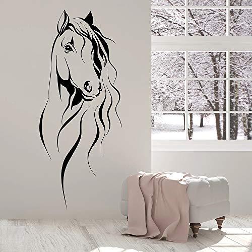 Tianpengyuanshuai Schöne Pferdekopf Wandaufkleber Vinyl Wandaufkleber für Wohnzimmer chinesische Stil Dekoration 85X48cm