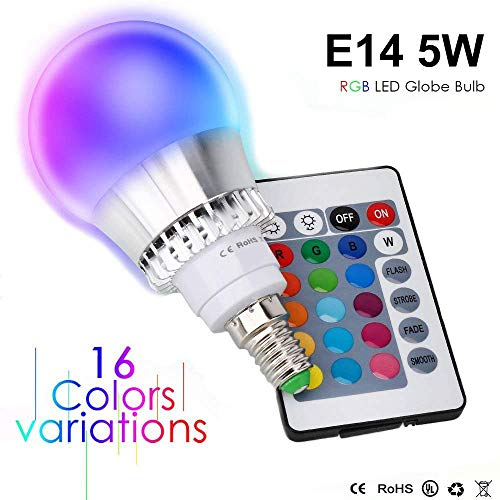 Colores cambiante E14 5W, RGBW LED Bombilla 16 Color Cambiantes Lámpara con Mando a Distancia, Múltiples Colores Regulable Cambio de Color iluminación Decoración