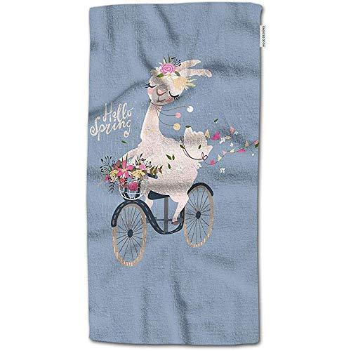 W-wishes Badetuch-Lama, niedliches Romantisches Lama-Alpaka mit Blumenkranz-Antrieb das Vintage Fahrrad-Handtuch-Gesichtstuch