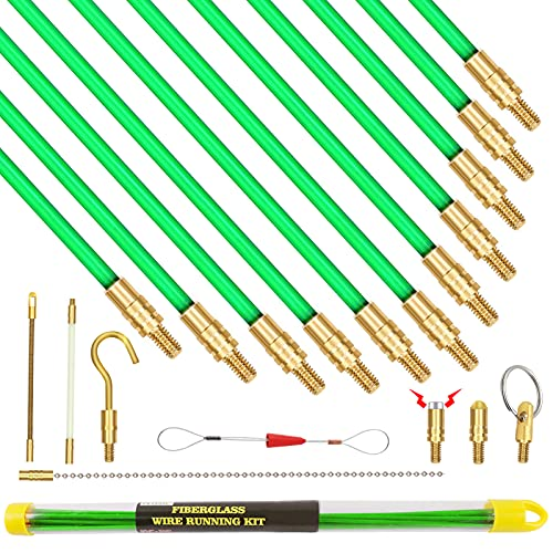 12 Feet Fiberglass Fish Tape Cable Rods, Electrical Wire Running Pull/Push Kit with Hook and Hole Kit Glow Rod, Hook Hole, Green