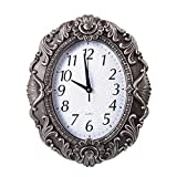 14 Inch Retro Oval Wall Clock, Silent Non-Ticking Home Decor Wall Clock for Home/Office/School, Arabic Numerals Silver