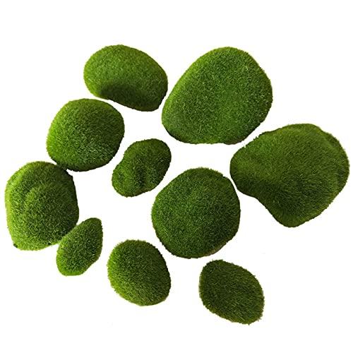 Piedras de Musgo Artificiales 10 Piezas Planta de Bola de Musgo DecoracióN de Bolas de Musgo Musgo de Varios Tamaños para Arreglos Florales, Jardines de Hadas, Terrarios y Manualidades