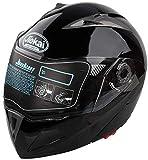Casco de Moto Flip Up Qiilu casco de moto doble visera diseño DOT negro brillante XL