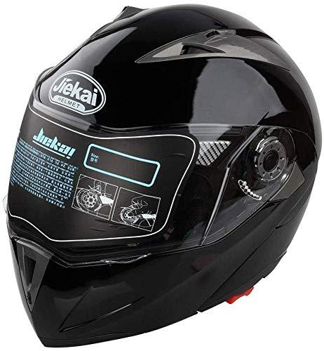 Casco de Moto Flip Up Qiilu casco de moto doble visera diseño DOT negro brillante XXL