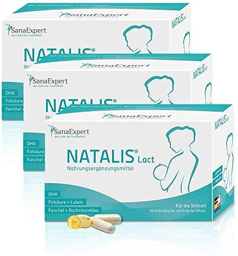 SanaExpert Natalis Lact, Nahrungsergänzung für die Stillzeit, DHA, Vitamin-Komplex, Folsäure, Fenchel, Bockshornklee (3)