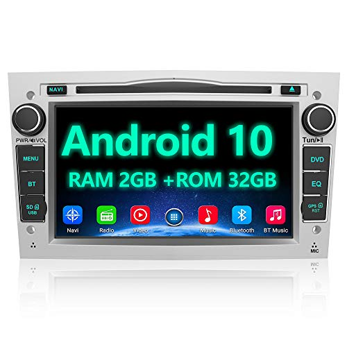 AWESAFE Autoradio 2 Din per Opel Android 10.0 [2G+32GB] 7 Pollici Car Radio con Navigatore per Opel Meriva Corsa Zafira Vivaro Antara Bluetooth WIFI DSP USB CD DVD RDS DAB+ Mirror Link (Argento)