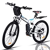 "VIVI Bicicletta Elettrica Pieghevole 350W Bici Elettriche, Bici Elettrica per Adulti, Mountain Bike Elettrica 26"", Batteria da 8 Ah, Velocità di 32 km/h, 3 Modalità di Lavoro (bianca)"