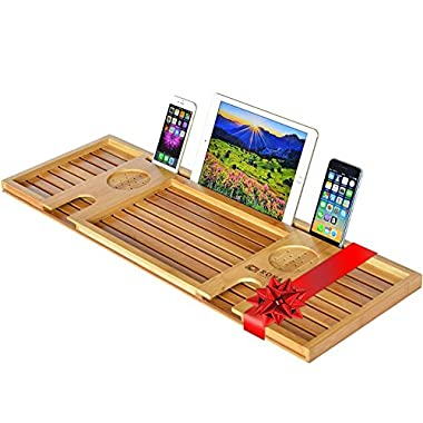 Royal Craft Wood Natural Bamboo Bathtub Caddy/Bath Serving Tray for 2: Him and Her - Luxury Bathtub Accessories Set