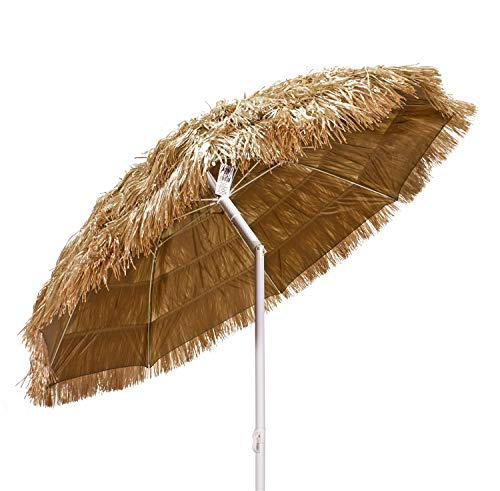 Si.trade s.r.l. Ombrellone Spiaggia in Paglia Tropicale Stile Hawaii Rafia Sintetica Ecrù Chiaro 190 cm - 43955