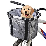 Hamiledyi Dogs Carrier Bike Basket - Perfect Removable Dog Front Basket for Bike - Pet Cat Dog Carrier Easy Install Quick Released