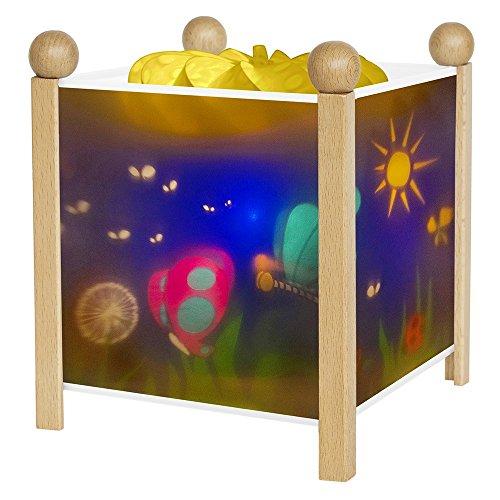 TROUSSELIER - Les Papillons - Veilleuse - Lanterne Magique - Idéal Cadeau Enfant - Dessin animé - Lumière rassurante - Couleur Bois Naturel - Ampoule 12V 10W inclue - Prise Elec. EU