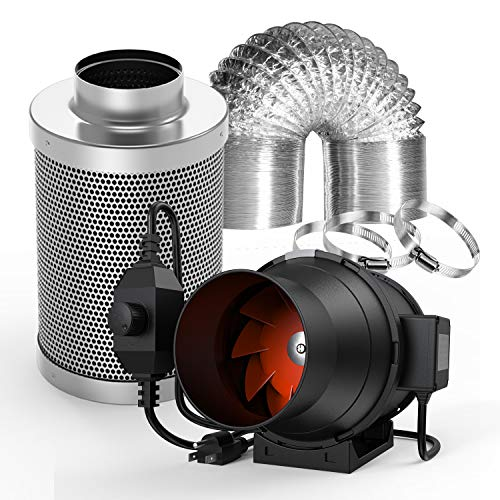 Spider Farmer Ventilation Kit 4 Inch 200 CFM Inline Duct Fan with Speed Controller Carbon Filter 32 Feet Ducting Combo Set Ventilation System for Grow Tent Grow Room Indoor Plants