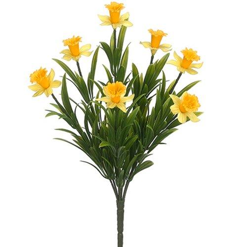 13.5' Narcissus Daffodil Silk Flower Bush -Yellow (Pack of 12)