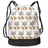 Drawstring Bag For Women Men Cat Taco Pizza Cartoon Backpack Sackpack With Shoe Compartment Soccer Basketball Cinch Bag For Hiking Yoga Beach Travel School Swimming