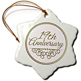 3dRose ORN_154461_1 19th Gold Text for Celebrating Wedding Anniversaries 19 Years Snowflake...