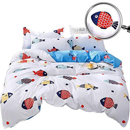 Dobeans Mädchen-Bettbezug-Set für Doppelbetten, französische Bulldogge, Welpen-Muster, graue Punkte, wendbar, für Jungen, Kinder, Jugendliche, weich Twin Weißer Fisch