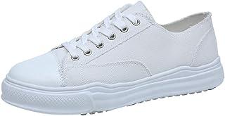 AUCDK Men Canvas Shoes Splice Design Chic Lace Up Flat Espadrilles Low Top Casual Flats Lightweight Sneakers