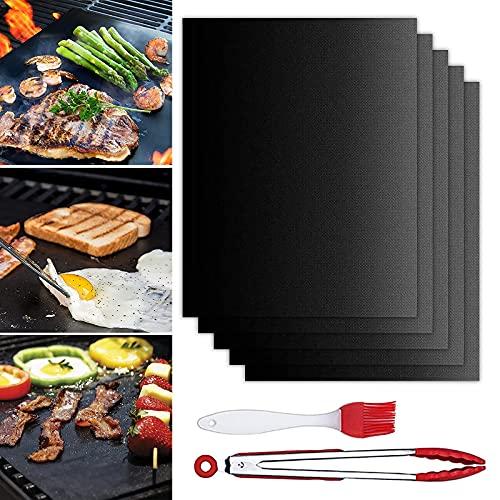 Tappetini da BBQ Stuoie da Forno Elettrico Barbecue Antiaderenti Riutilizzabile Tappetino per Griglia 7 Pz Resistente al Calore Tappetino Barbecue Fogli Cottura Barbecue per Griglia a Carbone Gas