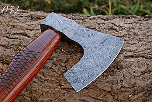 Custom Hand Forged Damascus Steel Axe Hatchet Tomahawk Rose Wood Handle EB 33