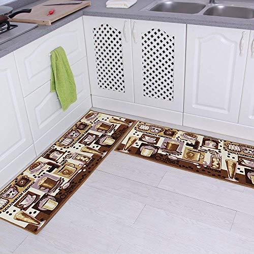 Carvapet Alfombras Cocina Lavable Antideslizante Alfombrilla de Goma Alfombra de Baño Alfombrillas Cocina (Café, Marrón)