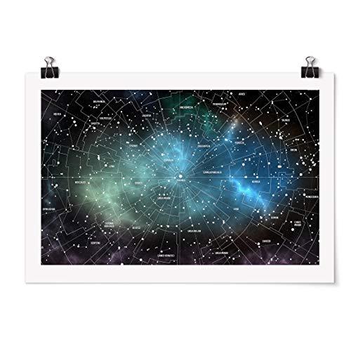 Poster - Sternbilder Karte Galaxienebel - Selbstklebend seidenmatt 20 x 30cm