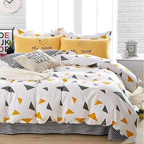 Michorinee - Juego de ropa de cama (135 x 200 cm, funda nórdica de 2 piezas, microfibra azul y blanco), diseño de rayas