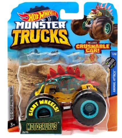 DieCast Hotwheels MonsterTrucks Motosaurus 25/75 with Crushable car - Animal Attack 1/10 (1:64 Scale)