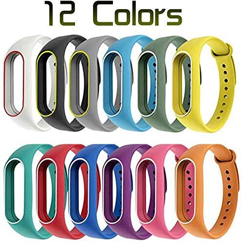 Chidi toy Xiaomi Mi Band 2 Armband, Mi Band 2 Riemen (12 Stück) Silikonband für XIAOMI Mi Band 2 Ersatzband - Verlustprävention -12Colors