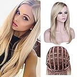 Queentas® Natural Ceniza recta Ombre rubia peluca con una pieza de cabello libre Bang para mujeres raíces oscuras de color marrón peluquines sintéticos peluca completa + 1 redecilla gratis