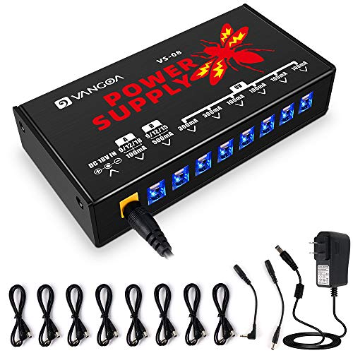 Guitar Power Supply, Guitar Pedal Power Supply 8 Isolated DC Output for 9V/12V/15V/18V Effects Pedal with Adjustable Voltage, by Vangoa