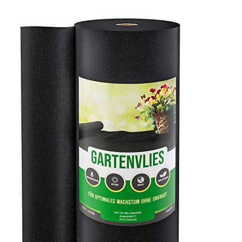 GardenGloss® 50m² Unkrautvlies Gartenvlies gegen Unkraut – Unkrautfolie Wasserdurchlässig – Reißfestes Unkrautflies 50g/m² – Hohe UV-Stabilisierung (50m x 1m, 1 Rolle)