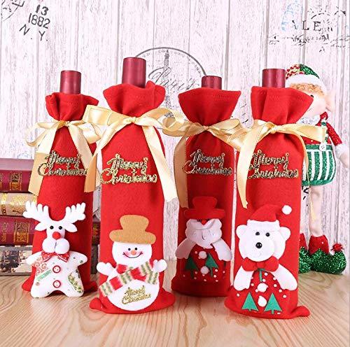 4 Pezzi Coperchio Della Bottiglia di Vino di Natale, Borsa per Vino di Natale per la Cena a Casa Decorazione per feste Decorazioni per la Tavola Ornam