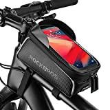 ROCKBROS Bike Phone Front Frame Bag Waterproof Top Tube Bike Bag Touch Screen Cycling Bicycle Phone Mount Pack Bike Pouch Large Capacity Phone Case Holder for iPhone 11 7 8 Plus XS Max Below 6.5""