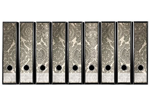 codiarts. Set 9 Stück breite Ordner-Etiketten - Vintage Design Ornamente grau beige - selbstklebend (Ordnerrücken Aufkleber Sticker)