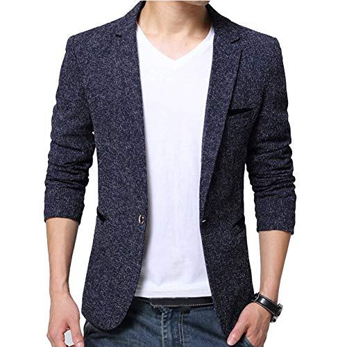 Guiran Hombres Chaquetas De Traje Y Americanas Informal Business Casual Blazer Slim Fit Azul M