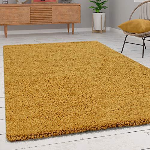 Paco Home Shaggy Hochflor Teppich Wohnzimmer Langflor Kuschelig Einfarbig In Gelb, Grösse:80x150 cm