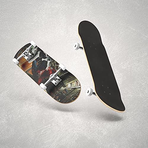 Skateboards Monopatín Completo de 31 pulgadashombre arañaTabla Completa monopatines de 31x8 in con Doble Patada para Hombres y Mujeres jóvenes niños Adultos de la Calle principiantesfigura heroica