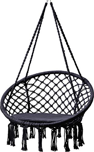GRASEKAMP Qualität seit 1972 Hängesessel zum Aufhängen mit rundem Sitzkissen Schwarz Belastbarkeit max. 100 kg Schwebesessel