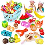 BeebeeRun Wooden Cutting Cooking Food Playset,Kitchen Play Food Toys for Pretend Role-Play, Early Development Learning Toys Gift with Carry Basket for Toddlers Boys and Girls