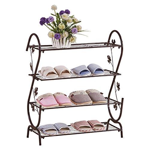 Meubles à chaussures Armoire à Chaussures de 4 Couches de Fer étagère à Chaussures d'économie de dortoir étagère Verticale étagère multifonctionnelle (Color : Brown)