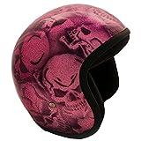PI Wear Jet Super Flake Skulls Pink sehr kleiner und schmaler Jethelm * auffälliges Design * keine...