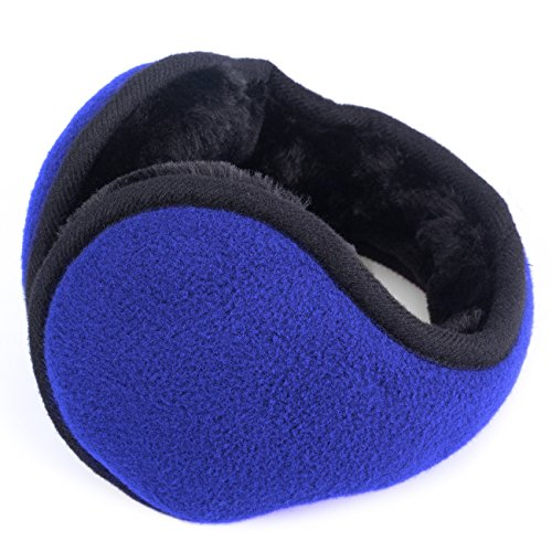 Metog Unisex-Adult's Winter Foldable Polar Fleece Earmuffs (Blue LIT, One size)