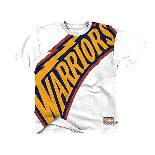Mitchell & Ness NBA Big Face tee Golden State Warriors - Camiseta de Manga Corta, Color Blanco Blanco XXL