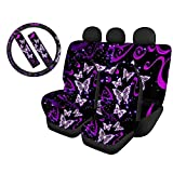 WELLFLYHOM Purple Butterfly Car Seat Covers Girly Full Set for Women Cartoon Striped Cute Design Back Seat Cover Blanket with Universal 15 Inch Steering Wheel Cover & Seat Belt Cover for Car Suv Sedan