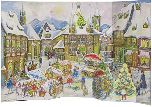 Nostalgischer Adventskalender / Weihnachtskalender mit Bildern und Glimmer für Kinder und Erwachsene 'Altstadtszene' Reprint von 1952