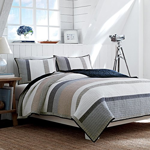 Nautica 201246 Cotton Reversible Quilt, Twin, Tan/Grey